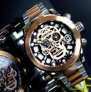 invicta skull collection skeleton chronograph rose gold 2 tone 50mm watch
