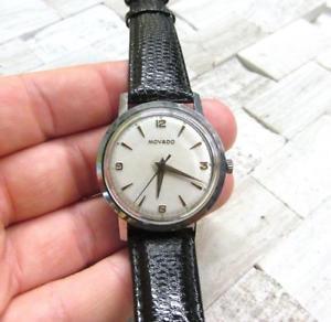 【送料無料】vintage mens movado manual wind stainless steel wristwatch 17jewels 9h7256
