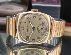 【送料無料】resolute 9c gold vintage watch expanding polished 375 working swiss made