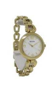 【送料無料】bulova 97l138 womens round analog mother of pearl gold tone watch