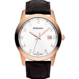 【送料無料】rodania celso swiss made 2510433 gents brown calfskin 40mm date quartz watch