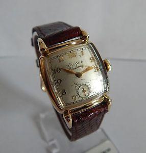 【送料無料】1950s handwound clean vintage bulova excellency 10k gf 21 jewel mens wristwatch