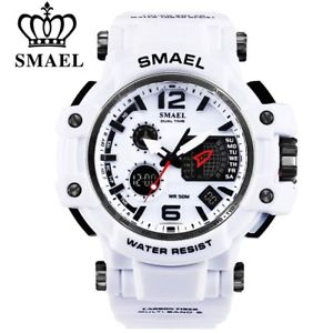 【送料無料】smael brand white digital watches male led waterproof xmas gifts for him dad men