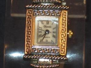 vintage ladies silvertone xanadu quartz egyptian look watch wpurple stones p244