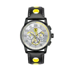 【送料無料】orologio cronografo uomo ferrari sport 0830056 acciaio brunito pelle nero chrono
