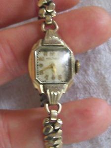 【送料無料】vintage ladies waltham 10k gold filled 17 jewel movement wrist watch it works