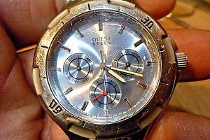 【送料無料】mens 38mm guess waterpro steel 100m vx3j epson quartz 8 12 wrist