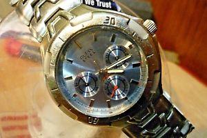 mens 38mm guess waterpro steel 100m  vx3j epson quartz 8 12 wrist