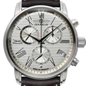【送料無料】zeppelin 76944 transatlantik lz127 silveredelstahl 42mm chronograph gmt neu