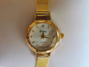 yukas womens 23mm gold fused stainless steel quartz watch with hexigon crystal