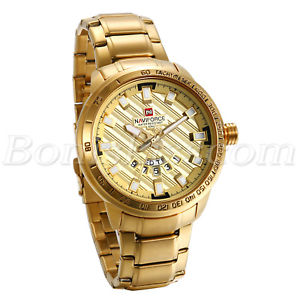 【送料無料】luxury mens gold tone stainless steel date business quartz analog wrist watch
