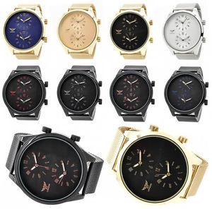 【送料無料】luxury oversized dual time watch big daddy fashion designer mesh strap steel