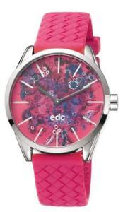 【送料無料】edc by esprit blushing flowers hot pink ee100422003 analog silikon pink