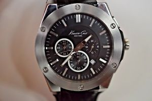 【送料無料】lightly worn kenneth cole stainless steel water resistant wristwatch kc8086