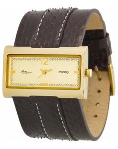 【送料無料】moog paris montre femme avec cadran dor bracelet marron fonc