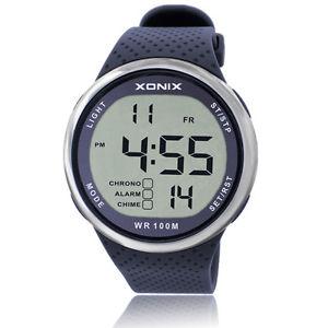 【送料無料】xonix sport led diving water resistant resin strap digital watch