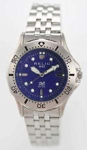 【送料無料】relic watch men blue stainless steel silver 50m water resistant easy read quartz