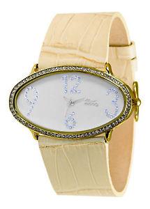 【送料無料】moog paris montre femme avec cadran blanc, elments swarovski, bracelet beige