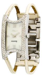 【送料無料】moog paris montre femme avec cadran blanc, elments swarovski, bracelet crme