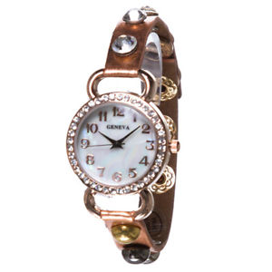 【送料無料】copper tone leather crystal studded ladies fashion watch