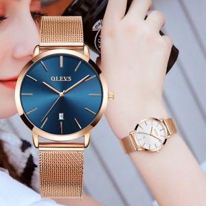 olevs  woman watch  luxury women watches ladies gold steel strap quartz date