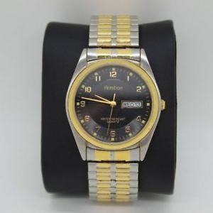 【送料無料】armitron mens stainless steel wrist watch 21053 gold amp; silver tone, stretch