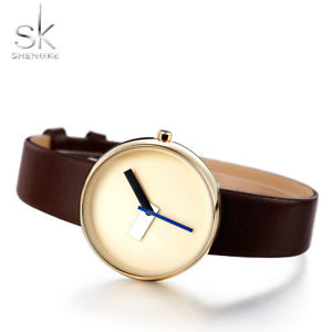 【送料無料】shengke luxury design women simple wrist watch brown leather xmas gifts for her