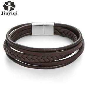 【送料無料】jiayiqi fashion genuine leather bracelet men stainless steel bracelets braided r