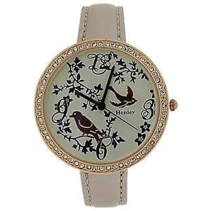 【送料無料】henley ladies two tone rose gold feathery friends pearlised strap watch h060725