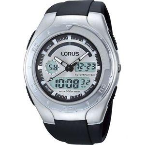 【送料無料】lorus r2389gx9 gents mens digital alarm chronograph resin strap dual time watch