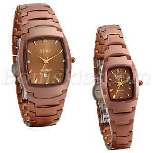 【送料無料】couples men women luxury square tungsten rhinestone date quartz wrist watch gift