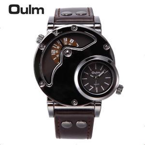 【送料無料】oulm watch man quartz watches top luxury leather strap military sport wristw