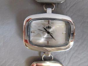 【送料無料】elite montre bracelet quartz femme rectangle metal grise argent woman watch