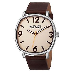 【送料無料】mens august steiner as8139br quartz movement genuine leather strap watch