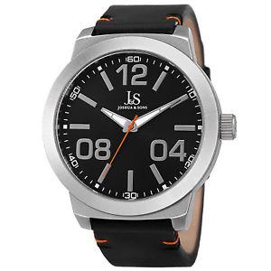 【送料無料】mens joshua amp; sons jx103ssb classic quartz movement genuine leather strap watch