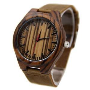【送料無料】bamboo leather wooden watch