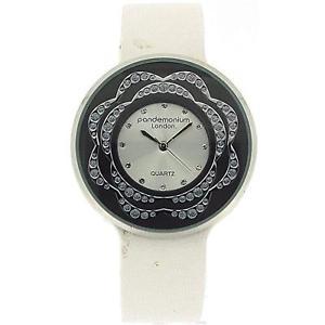 【送料無料】pandemonium london cz design white strap ladies fashion watch pl116