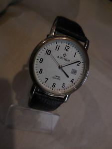 【送料無料】action,ancienne montre a date plate mixte,bracelet veau,bon etat fonctionnel