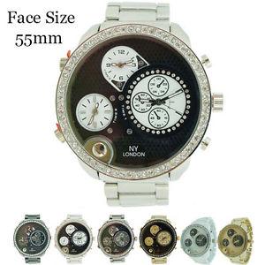 【送料無料】mens ny london 3 timezone cz jumbo watch 55mm