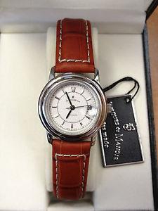 【送料無料】jacques du manior womens crocodile embosed leather automatic watch
