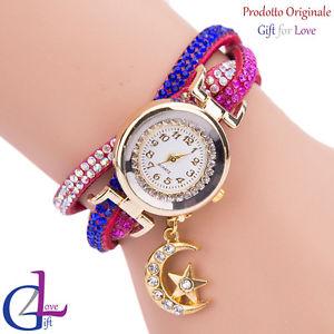 【送料無料】orologio donna oro swarovski elements originale g4love cristalli strass pelle