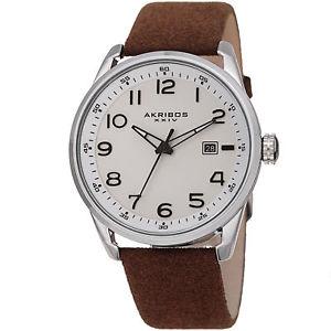 【送料無料】mens akribos xxiv ak1029br quartz date white brown seude leather strap watch