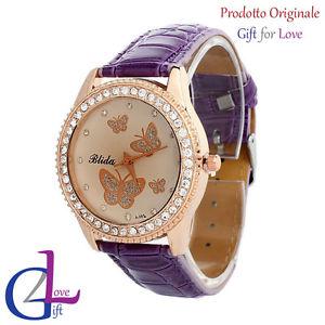 orologio donna pelle swarovski elements originale g4love cristalli farfalle