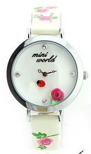 【送料無料】red rose ladybird white mini polymer clay watch fashion ladies woman waterproof