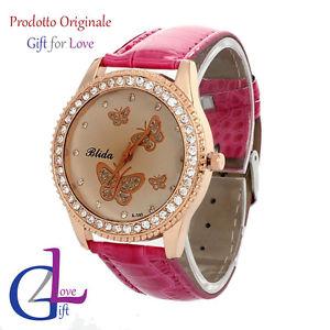 【送料無料】orologio donna pelle swarovski elements originale g4love cristalli farfalle