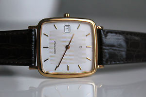 【送料無料】certina quartz 20m gold *nos, listed 1993 chf 450*