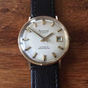 【送料無料】9ct gold 1970s automatic accurist calendar watch