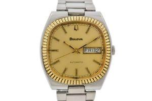 【送料無料】vintage bulova daydate stainless steel mens automatic watch 924