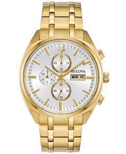 【送料無料】bulova 97c109 mens goldtone stainless steel daydate surveyor 42mm watch