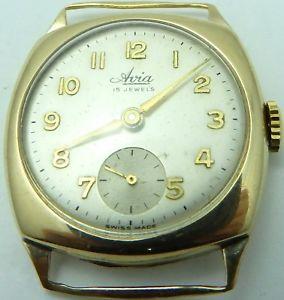 【送料無料】vintage 9ct gold cushion case gents 15jewel swiss gents wristwatch working order